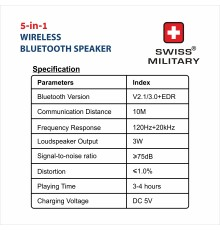 SWISS MILITARY 5-IN-1 WIRELESS BLUETOOTH SPEAKER BL7